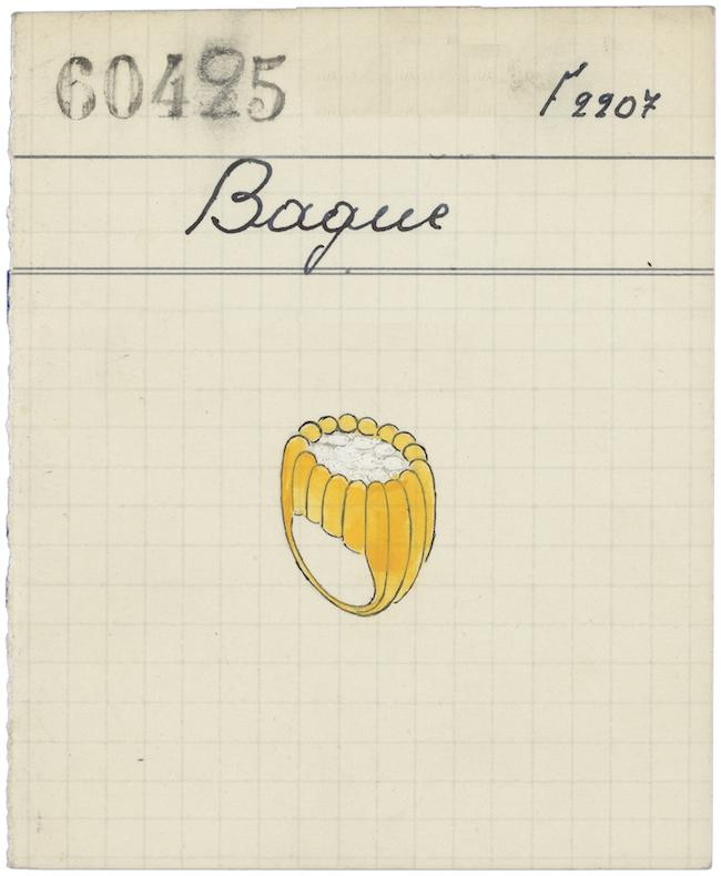 บัตรแสดงรายละเอียดของแหวนลัญจกร (Signet ring) ปี 1948 แผนกเก็บเอกสารสำคัญทางประวัติศาสตร์ของ Van Cleef & Arpels